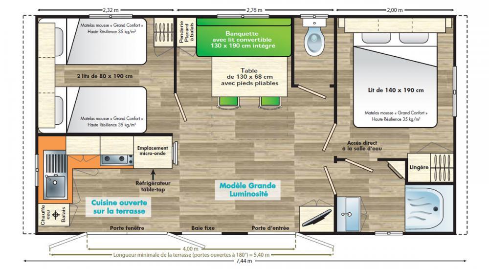 Plan mobil-home Confort 4 personnes