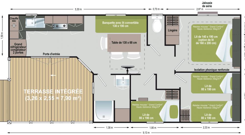 Plan Soléo 3 Mobil-home Confort Luxe